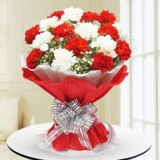 Red and White Carnation Flower Bouquet
