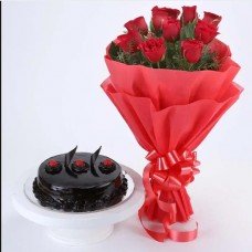 Chocolate Truffle Cake and 10 Red Rose Bouquet