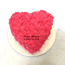 Red Flower Heart Shape Cake