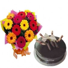 Chocolate Cake and Mix Gerbera Flowers