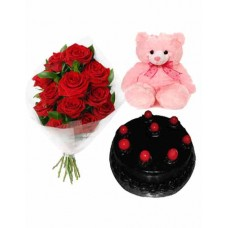 Half Kg Chocolate Cake With Red Roses N Teddy