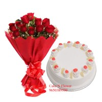 Half Kg Cake and Red Roses