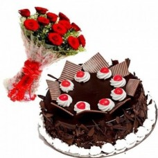 German Black Forest Cake & Roses Flowers