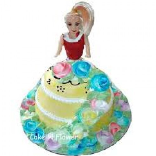 Barbie Doll Shape Cake Design 03 Online Delivery In Noida Greater Noida