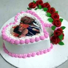 Dubbul Heart Shaped Photo Cake