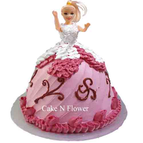 Barbie Doll Shape Cake Design 04 Send Online Delivery In Delhi Noida